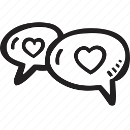 dialog, feelings, hand drawn, love, romantic, valentines, valentines day icon