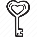 feelings, hand drawn, key, love, romantic, valentines, valentines day icon