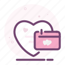 calender, heart, love, romantic, valentine icon