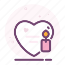 candle, heart, love, romantic, valentine icon