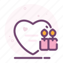 candles, heart, light, love, romantic, valentine icon