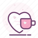 coffee, cup, heart, love, romantic, tea, valentine icon