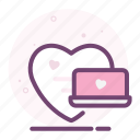 computer, heart, laptop, love, romantic, valentine icon