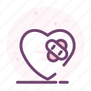 bandage, broken, heal, heart, love, romantic, valentine icon