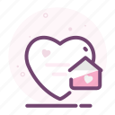 heart, home, love, romantic, valentine icon