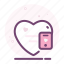 communication, heart, love, mobile, phone, romantic, valentine icon