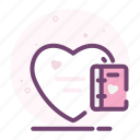 book, heart, love, notebook, notes, romantic, valentine icon