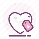heart, label, love, pricetag, romantic, valentine icon