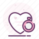 diamond, heart, love, ring, romantic, valentine icon