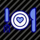 couple, date, dinner, food, romantic icon