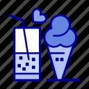 cone, cream, food, glass, ice, juice