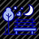 moon, night, park, romance, romantic