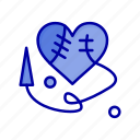 broken, heart, heartm, sewing