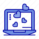 heart, laptop, love, wedding icon