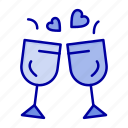 drink, glass, love, wedding icon