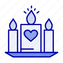 candle, heart, love, wedding icon