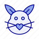 bunny, cute, easter, love, rabbit icon