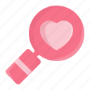 heart, heart search, magnifier, magnifying, search, valentine, valentine day