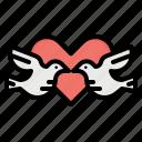 birds, couple, heart, love, romance