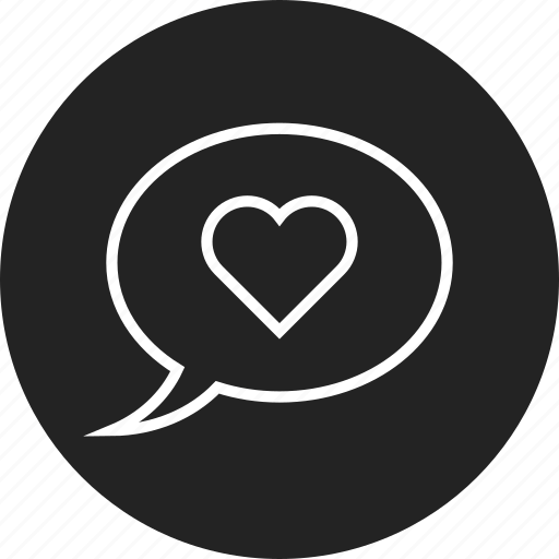 bubble, heart, speech icon