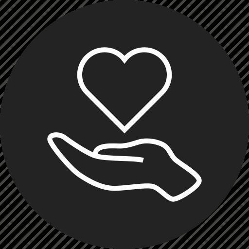 charity, hand, heart icon