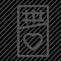 bar, chocolate, heart, love, sweet icon