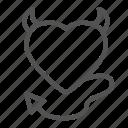 devil, heart, horns, love icon