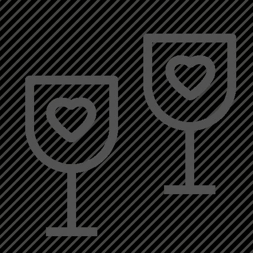 glass, heart, love, wine icon