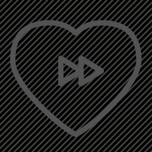 fast, forward, heart, love, media icon