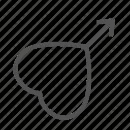 arrow, heart, love, man icon