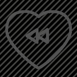 heart, love, media, rewind icon