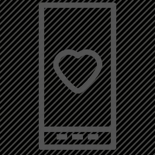 heart, love, phone, smart icon