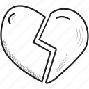 broken, feelings, heart, love, romantic, valentines icon