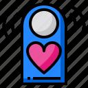 door, label, busy, love, heart