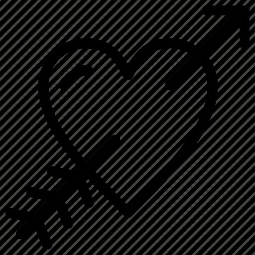 arrow, day, heart, love, valentines icon