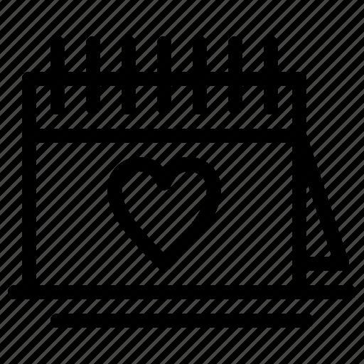 calender, day, love, romantic, valentine icon