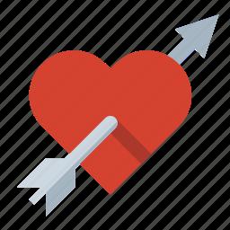 arrow, cupid, heart, love, romance icon