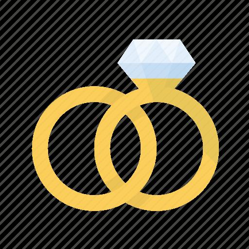gold, love, rings, romance, wedding icon