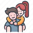 back, couple, female, happy, lover, man, ride icon