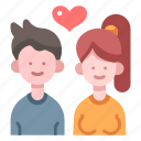 couple, female, love, lover, male, relationship, together icon