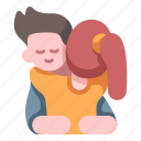 happy, relationship, male, love, valentine, hug, together icon