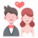 bride, celebration, groom, happy, love, marriage, wedding icon
