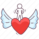 angel heart, heart wings, love angel, love wings, peace angel icon