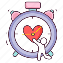 chronometer, love clock, love countdown, stopwatch, timepiece, timer icon