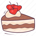 bakery, cake slice, cream cake, dessert, sweet food, valentine cake icon