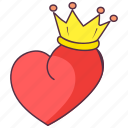 emperor crown, king heart, love crown, royal heart, royal love icon