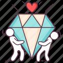diamond heart, gems, jewel, love heart, precious stone icon