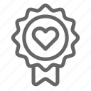 award, badge, heart, love icon