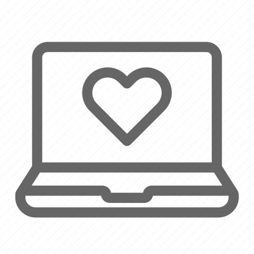 computer, heart, laptop, love, online icon