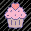 heart, cake, food, cupcake, dessert, valentine